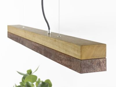 [C1o] CORTEN - Dimmable LED - Oak & Corten Steel Pendant Light Non-dimmable