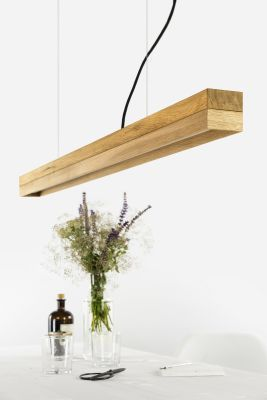 [C1o] OAK - Dimmable LED - Oak & Oak Pendant Light Non-dimmable