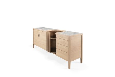 Carousel Sideboard Oak Natural, Calcatta Marble