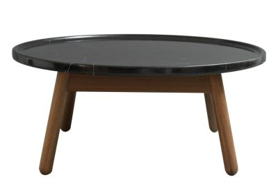 Carve Round Coffee Table Walnut Base, Black Top