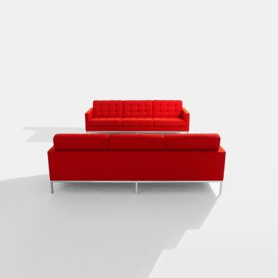 Florence Knoll 3 Seater Sofa Satin Chrome, Hopsack Red K120610
