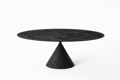 Clay Table - Oval 120 x 218cm, D67 Lava Stone, Yes