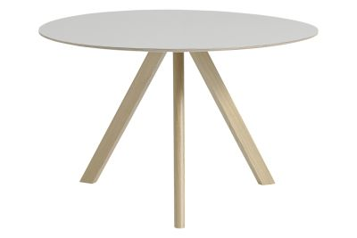 Copenhague Linoleum Top Round Dining Table CPH20 Matt Lacquered Oak Base, Off White Top, Large