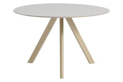 Copenhague Linoleum Top Round Dining Table CPH20 Matt Lacquered Oak Base, Off White Top, Large