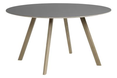Copenhague Linoleum Top Round Dining Table CPH25 Soap Treated Oak Base, Grey Top
