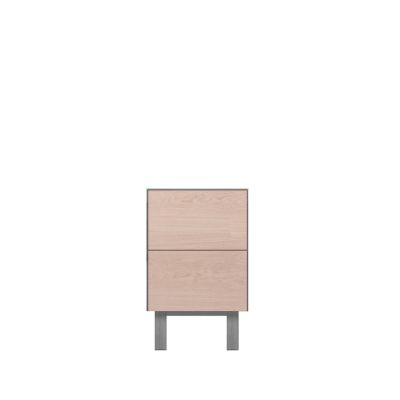 Cubo Side table 2 Drawers Oak, Light Grey