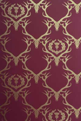 Deer Damask Wallpaper Claret, Gold
