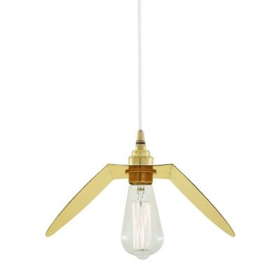 Dodoma Pendant Light  Polished Brass White Cable