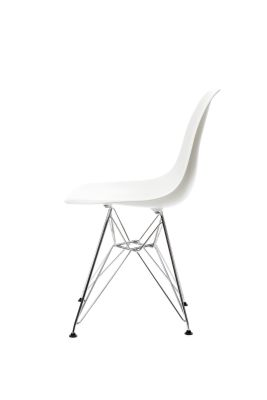 DSR Side Chair 01 Chrome ,01 White ,05 Felt glides basic dark for hard floor