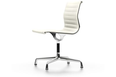 EA 101 Aluminum Chairs - Swivel, Without Armrests 04 Glides for carpet, Leather Premium 72 snow, chromed aluminium