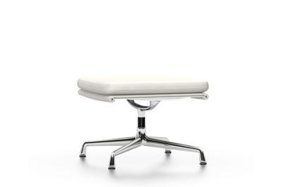 EA 223 Soft Pad Stool - Non Swivel 04 Glides for carpet, Leather Premium 72 snow, chromed aluminium
