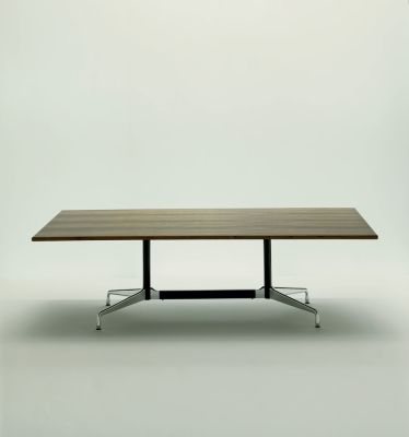 Eames Rectangular Table - 8 Seats White laminate / plastic edge black, Feet chrome / central columns and stabilisers basic dark