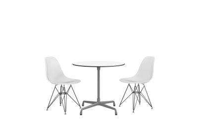 Eames Round Table - 3 Seats White laminate / plastic edge black, Feet chrome / central column basic dark