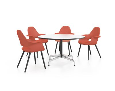 Eames Round Table - 4 Seats White laminate / plastic edge black, Feet chrome / central column basic dark