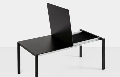Easy Extensible Anodised aluminium, Aluminium lacquered steel, White laminate with black edge, 148-188-228 x 80