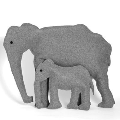 Elephant Cushions Set of 2, Grey