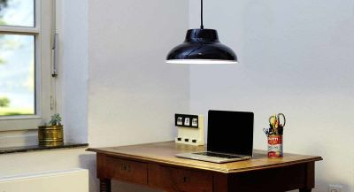 EM006  Industrial Enamel Pendant Lamp Cable Black