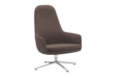 Era Lounge High Chair Swivel Sørensen Ultra Leather Black Brown - 41590, Black Aluminium