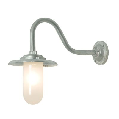 Exterior Bracket Light, 60W, Swan Neck 7677 Galvanised Silver, Frosted Glass