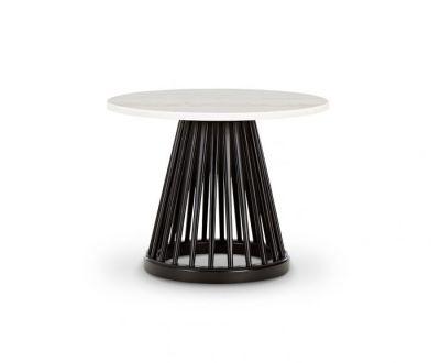 Fan Table Black Base, White Marble Top, 60cm