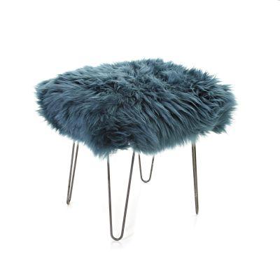Ffion Sheepskin Footstool  Teal