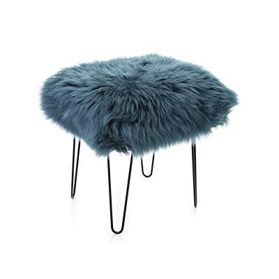 Ffleur Sheepskin Footstool  Teal