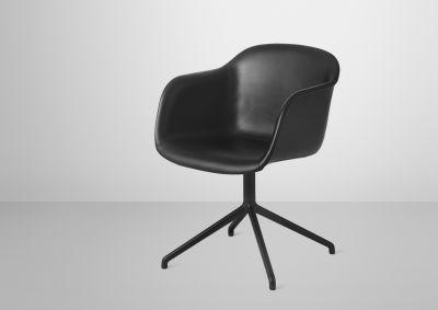 Fiber Armchair swivel base leather shell Silk Leather - Black/Black