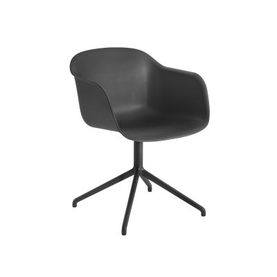 Fiber Armchair Swivel Base Without Return Black/Black