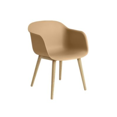 Fiber Armchair Wood Base Ochre / Oak