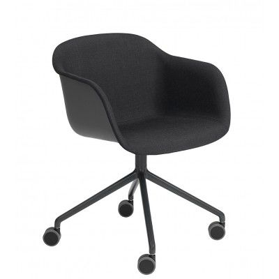 Fiber Armchair/Swivel Base With Castors Upholstered Seat Elmo Soft Leather 00100, Black