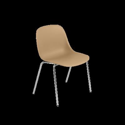 Fiber Side Chair / A-Base With Felt Glides Non Upholstered Ochre / Chrome