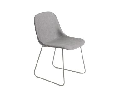 Fiber Side Chair Sled Base - Upholstered Elmo Soft Leather 00100, Black