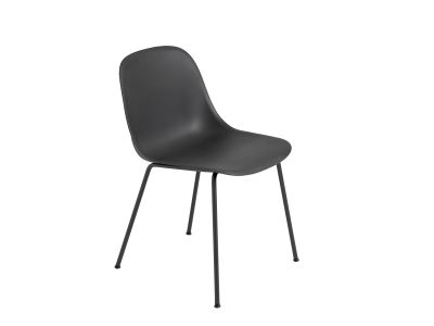 Fiber Side Chair Tube Base Black / Black