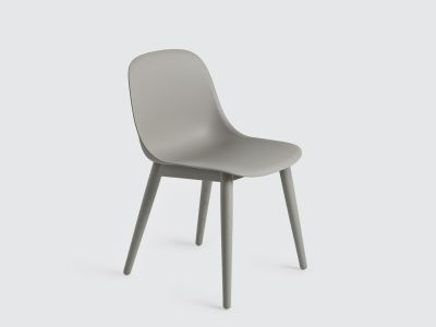Fiber Side Chair Wood Base Grey/Grey