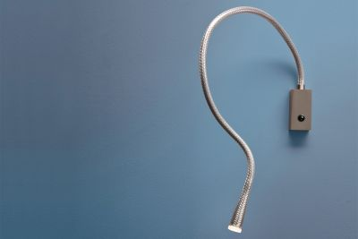 Flexiled L60 Steel Wall Light Satin nickel w/ switch, Braided steel covered by transparent wrap