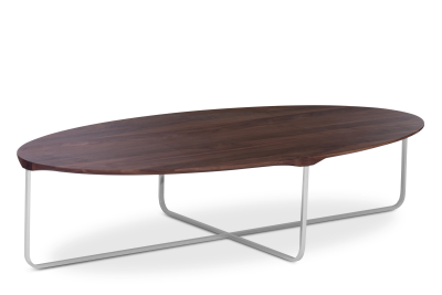 Flint Oval Coffee Table Matt Lacquered Walnut