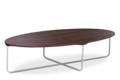 Flint Oval Coffee Table Matt Lacquered Walnut