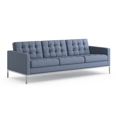 Florence Knoll 3 Seater Sofa - Relax Lucca Crisantemi LC2413, Polished Chrome