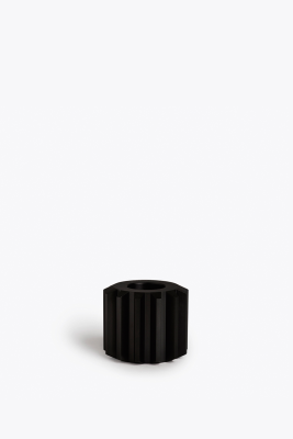 Gear Candle Holder Graphite Black Anodized Aluminium, Wide