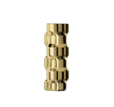 Gear Tall Vase Glossy Gold, Glossy Black