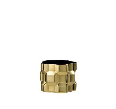 Gear Vase Glossy Gold, Glossy Black