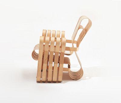 Gehry Power Play Club Chair white maple veneer strips