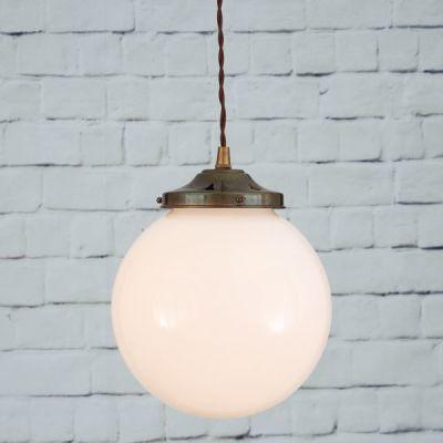 Gentry 20cm Opal Globe Pendant Light  Antique Brass