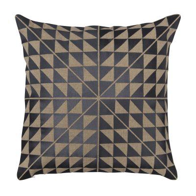 Geocentric Cushion Slate & Natural Linen