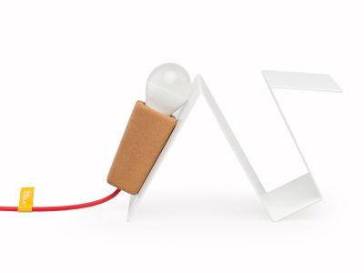 Glint #3 Desk Lamp White with Red Cable