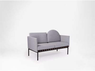 Grid - 2 Seater Sofa With Armrests, With Round Cushion Plot 143, Oak, Plot