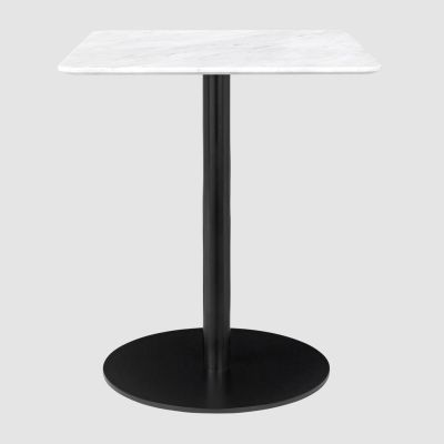 Gubi 1.0 Square Dining Table 80 x 80, Gubi Metal Brass, Gubi Marble Marrone Emperador