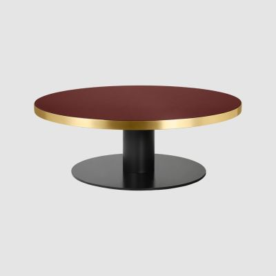 Gubi 2.0 Round Coffee Table Wood Walnut, Gubi Metal Brass, Ø150