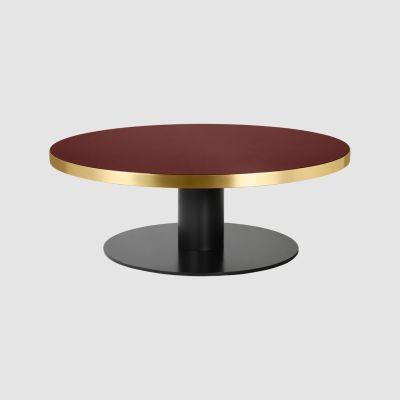 Gubi 2.0 Round Coffee Table Wood Walnut, Gubi Metal Brass, Ø150