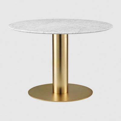 Gubi 2.0 Round Dining Table - Marble Gubi Metal Brass, Gubi Marble Bianco Carrara, Ø110